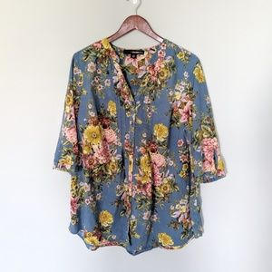 Denim 24/7 Plus Indigo Blue Floral Blouse